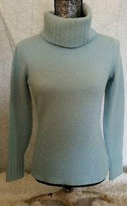 Ann Taylor Baby Blue Cashmere Turtleneck Sweater S